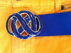 80's Royal Blue and Gold Pretzel Stretch by SpeckledRedThrift, $15.00