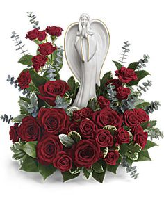 Order Forever Our Angel Bouquet by Teleflora - angel of grace from Coleman Brothers Flowers Inc., your local Richmond florist. For fresh and fast flower delivery throughout Richmond, VA area. Altar Flowers, Silk Flowers, Purple Flowers, Flowers Garden, Red Roses, Funeral Floral Arrangements, White Flower Arrangements, Funeral Bouquet, Funeral Flowers