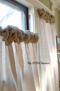 Like the idea of light colored burlap curtains with the darker trim as seen in picture maybe to match rose tie back. I would like just one panel for each window (a total of 2) then pull it to one side with rose tie back?!