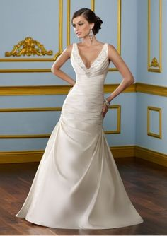 Satin Beaded V-Neckline V-back Asymmetrical Pleated Bodice Trumpet Wedding Dress with Beaded Detail Pick-up Skirt WD-1805