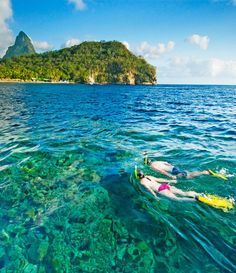 Snorkeling off the Caribbean island of St. Lucia.  ASPEN CREEK TRAVEL - karen@aspencreektravel.com
