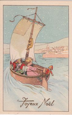 Vintage French Christmas Postcard, a printable vintage illustration from ArtDeco on Etsy, a good source for vintage digital images.
