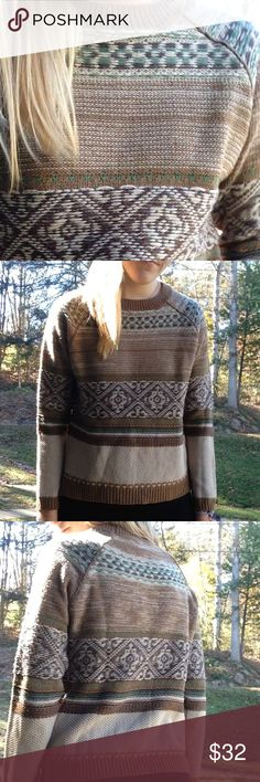 """Knit brown🌰🍂 sweater Love the fitted look. NOT UO. Brand is called """"dex"""". Tag says XL, but it fits more like an xs-small. Brown and green and tan knit pattern. 100 % Acrylic. Urban Outfitters Sweaters"""