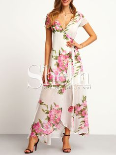 Shop White Floral Print Wrap Maxi Dress online. SheIn offers White Floral Print Wrap Maxi Dress & more to fit your fashionable needs.