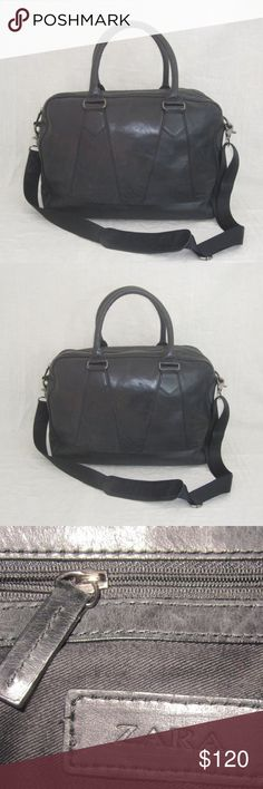 """ZARA black leather carry on duffle travel bag This is a Stunning black soft leather Zara X large tote carry on duffle travel BAG.It is 100% AUTHENTIC, and it was pre owned, and in very GOOD CONDITION.There are no major flaws to report, See pictures.The inside looks clean. The leather has scuffs from normal wear, see pictures. It measures approx: 16""""L X 12""""H X 6.5""""W,the strap has a  19"""" drop.It closes with a zipper top.On the inside is the Zara leather name tag.There is one zipper pocket on…"""