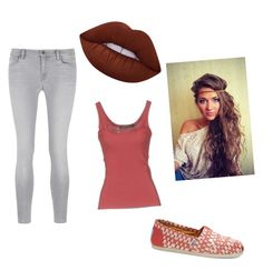 """""""Coral with a splash of color"""" by backwoodsbeautyqueen94 on Polyvore featuring J Brand, Lime Crime, PRIVATE LIVES and TOMS"""