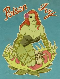 Pin-up style Poison Ivy. Pretty cool, maybe I can talk Teske Goldsworthy Smith to be her for Halloween and then I can be the Penguin? JC can be Batman and Kya and Carson can be Catwoman or Batgirl or Robin or Wonder Woman or Harley Quinn. Poison Ivy Comic, Dc Poison Ivy, Poison Ivy Batman, Poison Ivy Dc Comics, Comics Illustration, Illustrations, Nose Art, Gotham City, Catwoman
