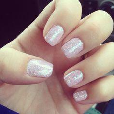 Loving my nude 2014 nails! #nails #shellac #glitter