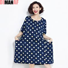 2f7ae81a0dcc0 Plus Size Women Dress Polka Dot Tops Loose T-Shirt Linen Dresses European  Blue Female