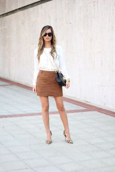 For All Things Lovely: Suede Skirt + Leopard Pumps