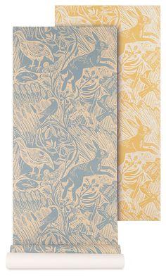 Mark Hearld - Harvest Hare - wallpaper - corn and blue slate