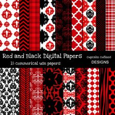 18 Red and Black Digital Papers. These are beautiful!! Great for invitations, cards, and paper goods. Great scrapbooking papers!