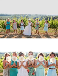 A sweet Michigan vineyard wedding with lots of details! Tons of paper goods like the ceremony ribbons + reception bunting. Casual Bridesmaid Dresses, Wedding Bridesmaids, Green Bridesmaids, Wedding Dresses, Bridesmaid Ideas, Dress Casual, Perfect Wedding Dress, Dream Wedding, Dresses Elegant