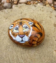 Tiger+cub+hand+painted+stone+rock+cat+