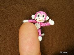 Lovely Tiny Monkey - 1 inch Scale Crochet Thread Monkey