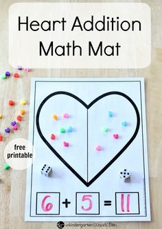 Create a heart-themed learning experience in your math center with this free Heart Addition Math Mat Printable where students can count, write and add!