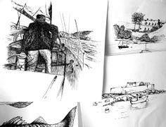 visuels réalisés à la plume et à l'encre de chine. scènes de paysages bretons dessinés en Bretagne sud.  Illustration made with black ink made in Brittany.