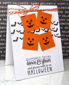 Pumpkin Faces by joan ervin - Cards and Paper Crafts at Splitcoaststampers Halloween Ii, Halloween Coloring, Halloween Cards, Happy Halloween, Cute Cards, Diy Cards, Holiday Crafts, Holiday Fun, Paper Craft Making
