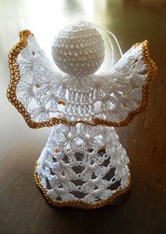 Handsome Crocheted Angels in Gold and White Color finished with golden detailing made with particular care, precision and love:  *Cotton yarn used on white and Polyester on gold angel; *Perfect Christmas Tree Ornament and any kind of decoration, *It can stand alone or it can be hanged, * They are extremely beautiful in person, so be the one to enjoy it!  Long lasting joy guaranteed :)))