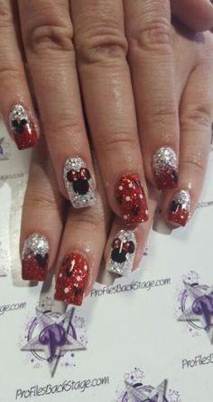 My mickey and minnie disney nails disney acrylic nails, disney toe nails, christmas acrylic Disney Christmas Nails, Xmas Nails, Christmas Nail Designs, Holiday Nails, Halloween Nails, Owl Nails, Minion Nails, Disney Toe Nails, Disneyland Nails