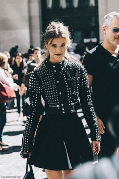 New_York_Fashion_Week-Spring_Summer-2016-Street-Style-Jessica_Minkoff-Diesel_Black_And_Gold-Studded_Jacket-