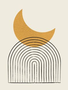 Moon Mountain Gold - Mid Century Style Couch Throw Pillow by Moonlightprint - Cover x with pillow insert - Indoor Pillow Mid Century Art, Mid Century Style, Aesthetic Iphone Wallpaper, Aesthetic Wallpapers, Abstract Line Art, Minimalist Art, Geometric Art, Fabric Painting, Wall Prints