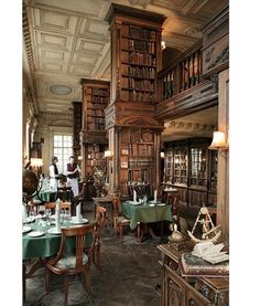 Library in Cafe Pushkin Moscow - It's a library with a restaurant in an old…