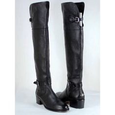 """PRICE⬇️ Pebble Leather Coach Phyllis Boots Amazingly Soft and Supple! A classic silhouette gets a luxe update with the plushness of pebbled leather. The tall, pull-on design comes finished with equestrian strapping, custom buckles and stretch leather goring for a leg-flattering fit.  1-1/2"""" heel. Comfy and Classy!     Current Macy's listing    Retail $428             http://www1.macys.com/shop/product/coach-phillis-over-the-knee-boots?ID=1718362 Coach Shoes Over the Knee Boots"""