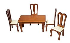 Dolls House Light Oak Round Table /& Chairs Miniature Dining Room Furniture Set