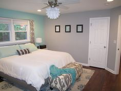 Behr-Balmy Seas yes color I picked for our bathroom, now I want to do this two tone for the bedroom and a stencil