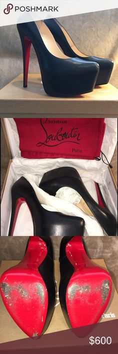 Christian Louboutin Daffodile 160mm Sz40 10 black Christian Louboutin Daffodile 160mm sz EU40/US 10 in black leather. This style runs small so they will fit a US 9.5 better. Shoes are in excellent used condition with no tears. Shoes are still stiff from not being worn.  I just bought these off of Poshmark and were certified by Concierge but went up too large of a size for me. I need to sell to buy 39.5s! Original box from Neiman Marcus with price tag of $1,075 plus 2 dust bags included. I do…
