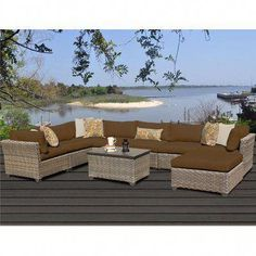 Sol 72 Outdoor Rochford 9 Piece Sectional Seating Group with Cushions Cushion Color: Cocoa