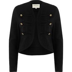 Black gold tone button military jacket €65.00