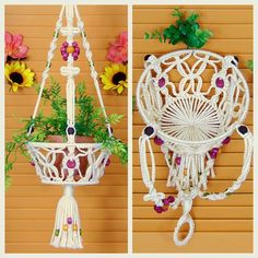 Good Absolutely Free Hanging Baskets fruit Concepts Hanging baskets are a wonderful way to create colour plus theatre with a sun-drenched wall structure or even e. Plants For Hanging Baskets, Baskets On Wall, Macrame Knots, Micro Macrame, Macrame Plant Hangers, Macrame Design, Diy Crafts, Crafts To Sell, Macrame Projects