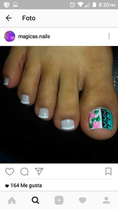 Pretty Pedicures, Pretty Toe Nails, Pretty Toes, Pedicure Nail Art, Toe Nail Art, Hello Nails, Toe Polish, Painted Toes, Pretty Designs