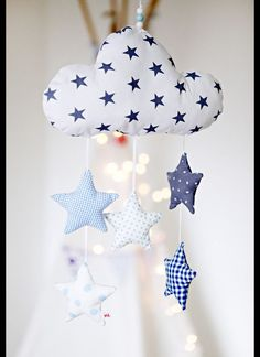 Die Wolke u. - Baby Spielzeug , Lovingly handcrafted mobile with a cloud and five stars. The cloud and the stars are sewn of different cotton fabric and filled with cotton wool. A sp. Baby Sewing Projects, Sewing For Kids, Diy For Kids, Baby Crafts, Felt Crafts, Diy And Crafts, Sewing Toys, Sewing Crafts, Tilda Toy