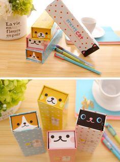 Kawaii Animal Character Cardboard Pencil Box   Pencil Case   Gift Ideas   Rectangle Pencil Case