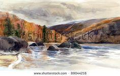 Watercolor painting with Lake Baikal at autumn - stock photo