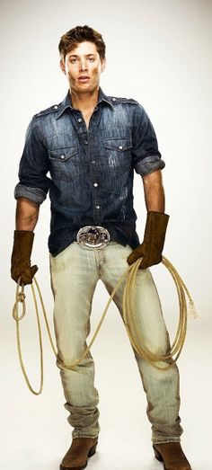 Jensen Ackles Coz im a cowboy. On a steel horse i ride. Im wanted. Dead or alive.