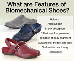 Do you know what biomechanical shoes are? Some common features include balance, arch support, shock absorption, diffusion of foot pressure, promotion of body alignment, guidance for the feet and toes, custom like cushioning and heel stability.