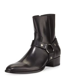 Wyatt Leather Harness Boot, Black by Saint Laurent at Neiman Marcus.