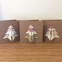 Set of 3 vintage origami christmas cards Origami Christmas, Christmas Cards, Greeting Cards, Gift Wrapping, Unique Jewelry, Handmade Gifts, Diy, Vintage, Christmas E Cards