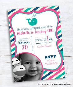 Whale invitation is perfect for a nautical themed girls 1st birthday! Includes a spot for a photo. Teal, navy and pink stripes. Matching thank you card with photo also available!  Print it yourself or take it to a local printer. We also offer printing services if you are interested. Please send a message to get a quote.  In search of custom designs? Contact us at Southern Twist Designs! ------------------ WHAT IS IT? ------------------ • This listing is for customized printable invitation in…
