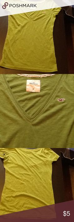 Hollister Deep V-Neck Perfect Condition! Gorgeous green color, deep v-neck. Hollister Tops Tees - Short Sleeve