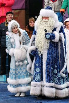Russia-Ded Moroz and Snegurochka (Grandfather Frost and the Snow Maiden): Similar to Santa Claus, Ded Moroz brings presents to children at New Year celebrations. He is accompanied by the Snow Maiden, his granddaughter.