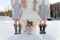 Bride and wedding party in sorel boots |  Photo by Julie Williams Photography www.juliewilliamsphotography.ca | planning by www.naturallychic.ca #winterweddings #sorelboots #emeraldlakelodge