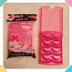 ⭐️Four Tier Hot Pink False Fake Eyelash Case Four Tier Hot Pink False Fake Eyelash Storage Travel Case. Comes with 4 pairs of unboxed eyelashes. The plastic is extremely high grade and thick, not cheap or flimsy. One case per listing. Accessories