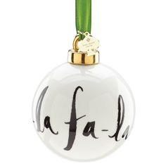 Deck the Halls kate spade Christmas Ornament - Fa la la Porcelain Ball. Christmas gifts at Silver Superstore! #katespade #christmasgifts