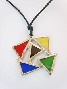 Colorful Geometric Necklace  Stained Glass Triangle by Tocasol, €19.00