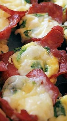 Bacon & Egg Breakfast Bites - best if turkey bacon is used along with eggs, fresh spinach, mozzarella cheese, a dash of hot sauce and S&P.